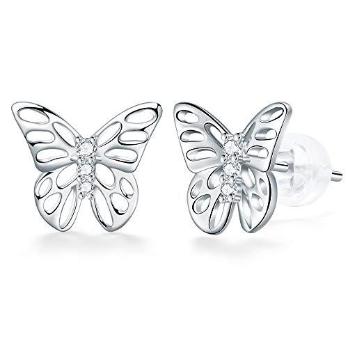J.Endéar Pendientes de mariposa para mujer, plata de ley 925, hipoalergénicos, regalo de joyería