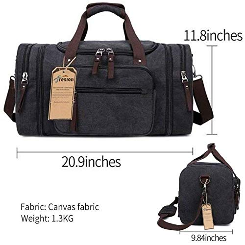 Canvas Duffle Bag, Unisex Weekend Travel Bag - Black