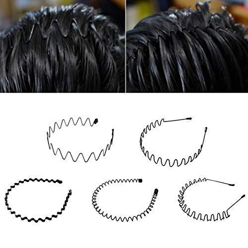 Metall Haarband, 5 Stück Sport Haarband Stirnband Wave Style Haarband für Männer Frauen Black Hoop, Flexible Unisex Schwarz Multi-Style Spring Wave Comb Haarbügel rutschfeste breite Kopfbedeckung