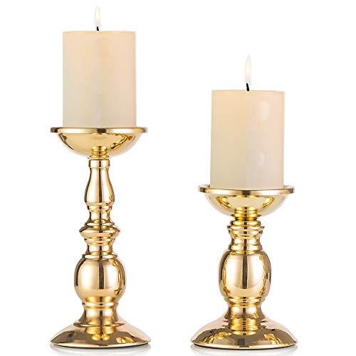 "Nuptio Gold 2 Pcs Iron Pillar Candle Holders, Gold Candlestick Most Ideal for 3"" Pillar Candles or Flameless Led Candles, Gifts for Wedding, Party, Home, Spa, Reiki, Votive Candle (S + L)"