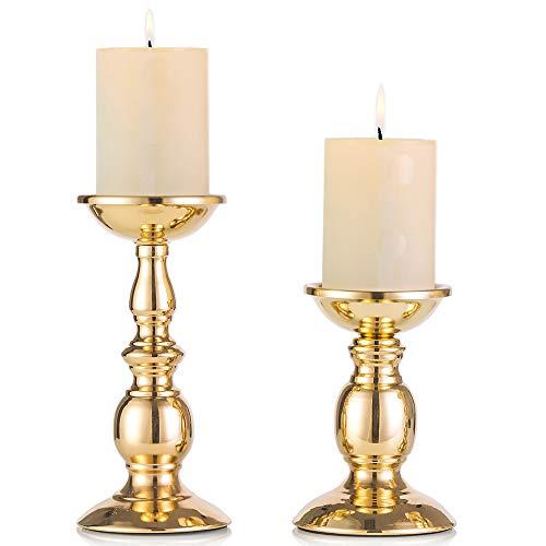 Eisen Säulenständer Kerzenhalter, Tischdekoration Kerzenständer Für Hochzeit, Party, Geburtstag, Abendessen Bei Kerzenlicht, Vintage Kerzenständer Hausdekoration, Kupferfarbe (Gold, Klein + Groß)