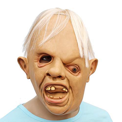 BESPORTBLE Halloween Cosplay Horror Schrägauge Mann Lustige Simulation Karnevalsmaske Beängstigend Gesicht Abdeckung Kostüm Requisite für Maskerade Make-Up-Party