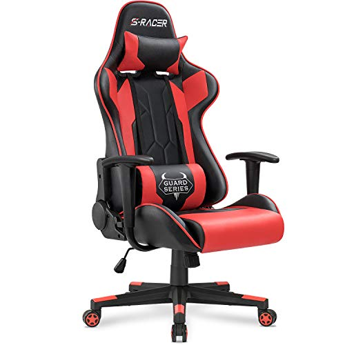Homall Gaming Chair Racing Office Chair Sracer Computer Desk Chair High Back Leather Executive Swivel Chair Ergonomic Adjustable (Red)