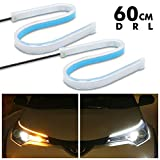 Carzex 60 CM Flexible White Daytime Running Light For Cars & Bikes with Matrix Yellow Indicator with Turn Sequential Flow (60 cm, Set of 2 Pieces)