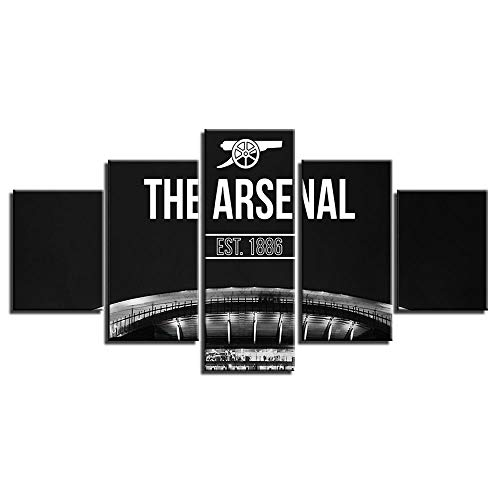 Arsenal Poster Wall Decor for Home Painting 5 Piece Canvas Prints Soccer Flag Wall Art Picture Modern Decoration for Bedroom Football Poster with Frame Ready to Hang(60''Wx32''H)