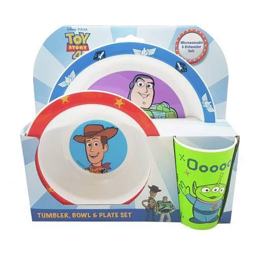 Holland Plastics OFFIZIELLE Toy Story 4-3-teiliges Set ESS- !! Komplett mit Teller, Schüssel & Trockner/Becher.