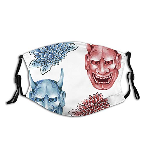 Comfortable Windproof Activated carbon mask,Different Colored Masks of Japanese Demoness Ornate Flowers,Printed Facial decorations for Unisex Adult