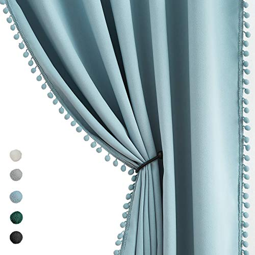"""Pompom Blackout Curtains Bedroom Black 84 inch Windows Drapes Triple Weave Thermal Insulated Curtain Panels for Nursery Room Studio Hotel 50"""" w x2 Panels Rod Pocket"""