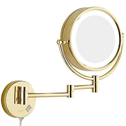 PLLP Spezialspiegel für Make-up, 8,5 Zoll Wandhalterung Badezimmer LED beleuchtete Make-up Spiegel Vanity Cosmetic Vergrößerung Doppelseitiger Rasierspiegel Messing mit elektrischem Stecker,5X