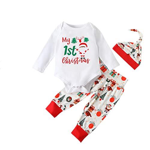 Macaquinho de manga comprida com estampa de letras para bebês recém-nascido Menino My 1st Christmas Clothes + calça comprida + chapéu, conjunto de 3 peças, Branco, 9-12 meses