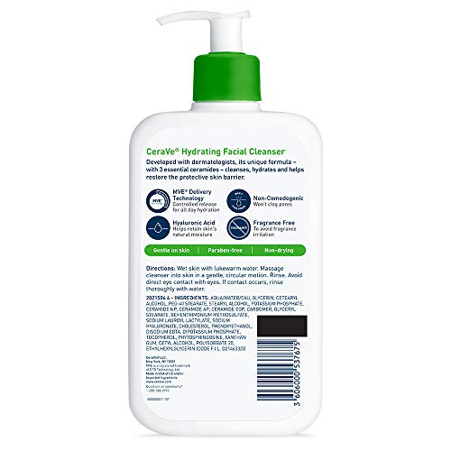 CeraVe Hydrating Facial Cleanser | Moisturizing Non-Foaming Face Wash with Hyaluronic Acid, Ceramides