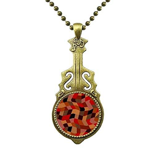 DIYthinker Diamond Polygon Fliesen Farbige Muster Halskette Antiker Gitarrenschmuck Musikanhänger