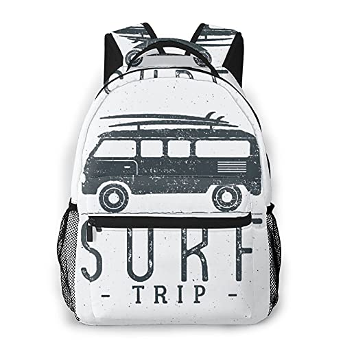Judascepeda Mochila de ocio múltiple,Concepto de viaje de surf Insignia retro de s, Mochila deportiva de viaje para estudiantes universitarios adultos jóvenes