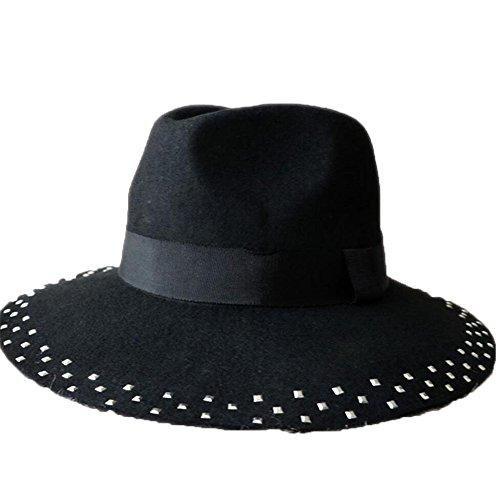Shengjuanfeng Sombrero de Lana, Sombrero de Jazz en Color Puro, Sombrero de Fieltro con Remaches para Las Estaciones de Primavera y otoño (Ropa)