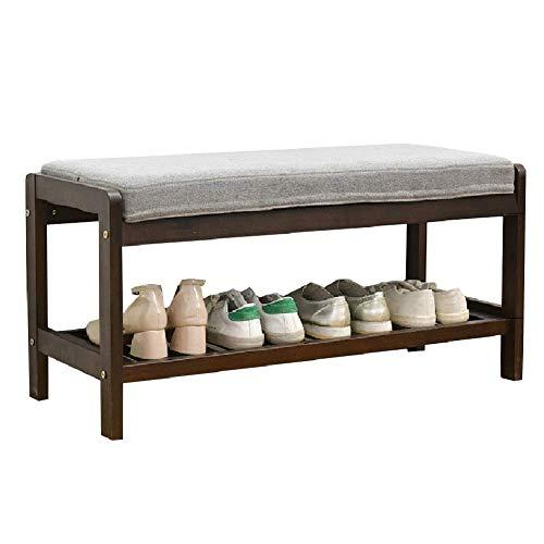YANGYUAN Estante de madera de 2 niveles para zapatos con cojín, banco de entrada, funda de asiento extraíble lavable, alfombrilla antideslizante (tamaño: 85 × 33,5 × 40 cm) zapatero (color: marrón)