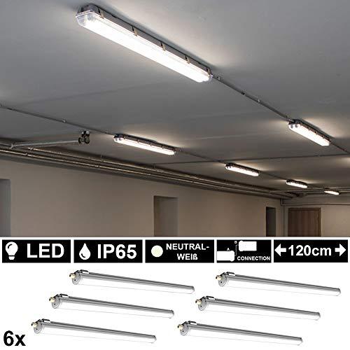 6x LED 36 Watt Industrie Wannen Decken Leuchten Feuchtraum 120cm Lampen neutralweiß 4000K