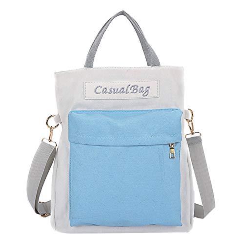 VECOLE Rucksäcke Damen Herren Schulranzen Paar tragbare diagonale Cross-Color-Umhängetasche Reisetasche Bergsteigen Campus Studententasche(Blau)