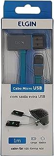 Cabo Usb 2.0 Micro Flat Com Saída Adicional 1 Metro Azul Elgin