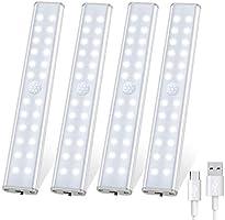 Tanbaby Lampe de Placard 24 LED, Sans Fil, Rechargeable par USB, Aimanté, Détecteur de Mouvement, 4 Modes d'Éclairage,...