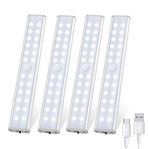 Luce led armadio, Tanbaby 24 LED Luce per Armadio Sensore Di Movimento Per Interni, Ricaricabile Sotto Il Gabinetto Cucina Armadio Leggero Stick Luce Notturna per Bar, Scale, Corridoio (4 Pezzi)