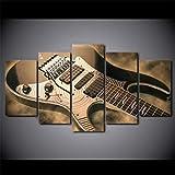 Yftnipl 5 Piezas Lienzo Poster Guitarra Eléctrica Instrumento Musical Hd Arte De La Pared Impresa Moderno Decoración Dormitorio El Hogar Pintura De La Lona Foto Regalo Listo Para Colgar