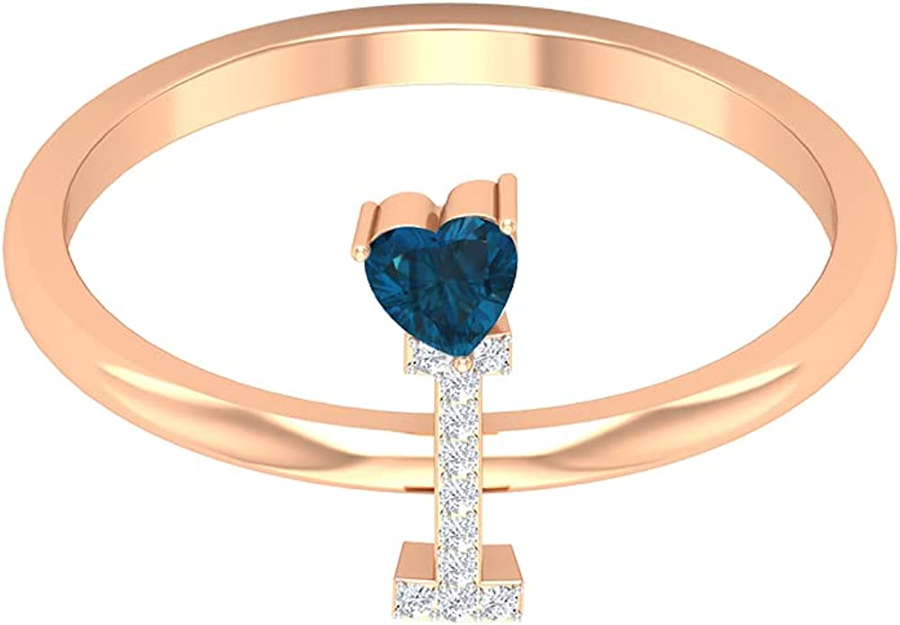1/4 CT Diamond Initial I Ring with London Blue Topaz Heart Solitaire (AAA Quality), 14K Solid Gold