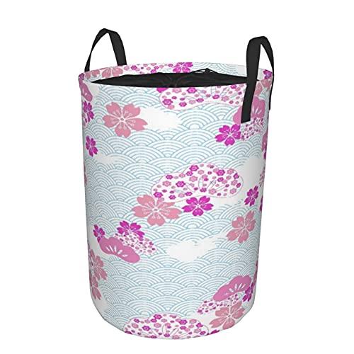 Cesta de almacenamiento, patrón Squama con patrón de flor de cerezo Land Of The Rising Sun, cesto de lavandería grande plegable con asas 21.6'x16.5'