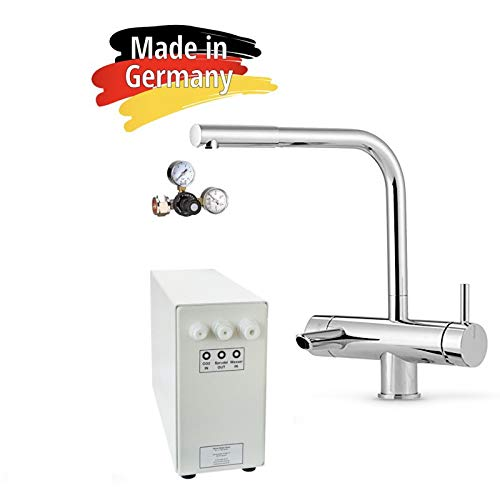 Sprudel-Lok Sprudel aus dem Wasserhahn! Untertisch-Trinkwassersystem - Trinkwassersprudler NEUHEIT! inkl. 3-Wege-Zusatzarmatur MORA und Anschluss-Set. Made in Germany