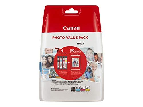 Canon CLI-581 Cartouches BK/C/M/Y Noir, Cyan, Magenta, Jaune + Pack de 50 feuilles papier photo PP-201 10x15cm (Emballage plastique)