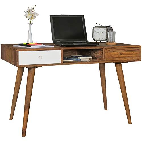 FineBuy Design Retro Schreibtisch Sheesham Massivholz 120 x 60 x 75 cm mit 2 Schubladen & Ablage Holzbeine | Dunkler Holz Büro Tisch Massiv | Massiver Natur Konsolentisch Dunkel Braun