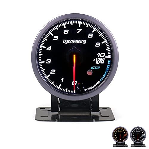 YEZHENGHUA Dynoracing Turbo Boost Barra de Calibre, Temperatura del Agua, Temperatura del Aceite, presión de Aceite, tacómetro, Gas de Escape de voltio (Color : Tachometer)