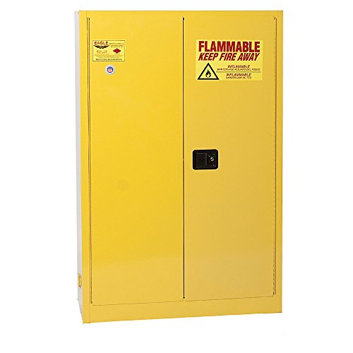 Eagle YPI-4510 Safety Cabinet for Paint & Ink, 2 Door Self Close, 60 gallon, 65'Height, 43'Width, 18'Depth, Steel, Yellow