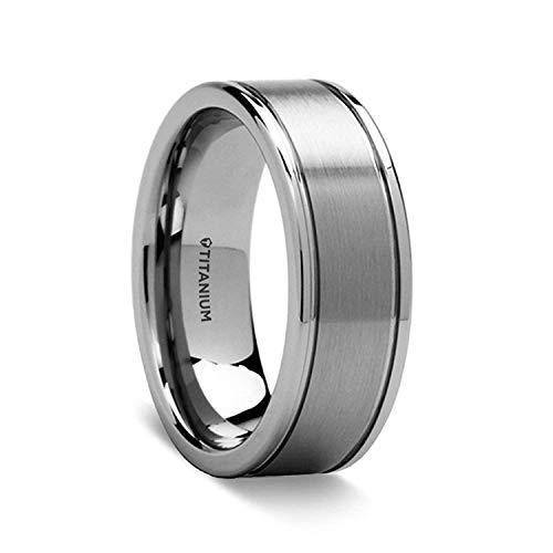 Thorsten Fairfield   Titanium Rings for Men   Lightweight Titanium   Comfort Fit   Flat Satin Finish Titanium Ring - 8 mm