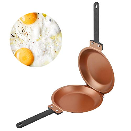 Sartén antiadherente, sartén de hierro fundido, sartén abatible de doble cara antiadherente Huevo frito Crepe Crepes Utensilios de cocina para el hogar