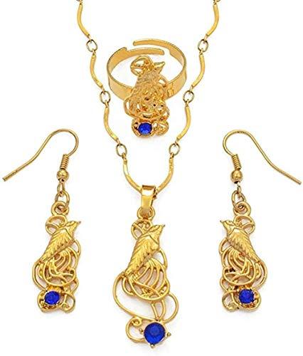 Ahuyongqing Co.,ltd Collar Pájaro con Colgantes De Piedra Azul Collares Pendientes De Papua Guinea Joyería Regalos Longitud 60cm Collar
