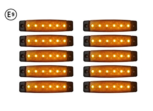 A1 10 x LED 24V ORANGE BEGRENZUNGSLEUCHTE POSITIONSLEUCHTE SEITENMARKIERUNGSLEUCHTE LKW