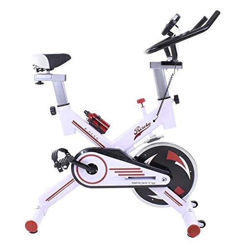 Riscko Wonduu Bicicleta Spinning Indoor con Volante de Inercia de 24 Kg | Bicicleta Estática con Monitor de Control, Manillar Ergonómico, Pulsómetro y Pedales Antideslizantes | Blanco