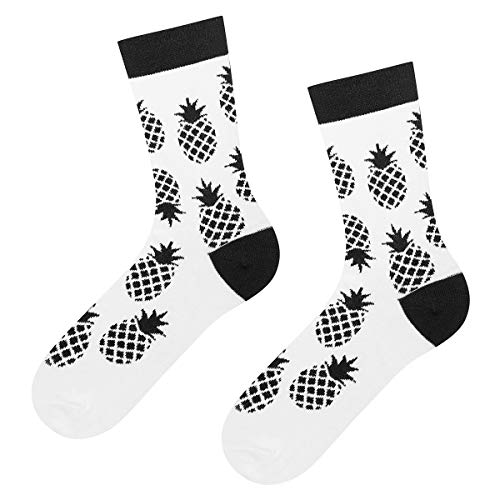 soxo Damen Socken | 4 Schwarz-weiss Muster | Lustige Frauen motiv socken Ideale Geschenk idee (Ananas)