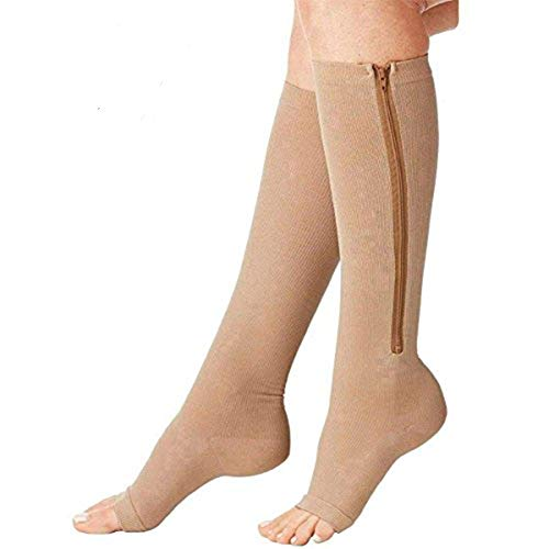 (2 Pairs) Compression Socks, New Compression Zip Sox Socks Stretchy Zipper Leg Support Unisex Open Toe Knee Stockings (Beige, S/M)