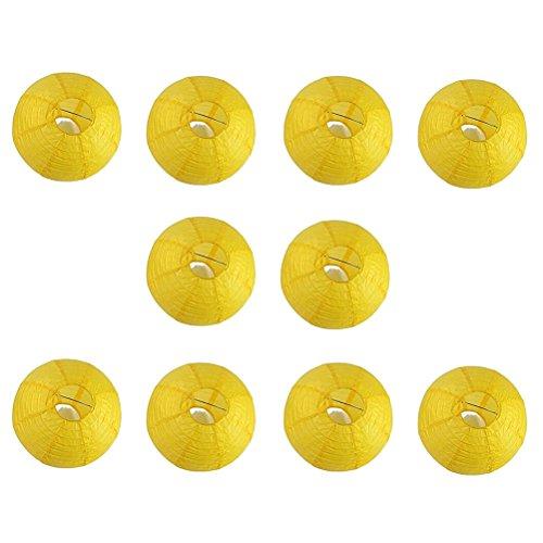 Pixnor 10pcs 12 pouces rond lampions avec fil nervure (jaune)