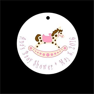 Set of 10 Pink Rocking Horse Baby Shower Favor Tags/Baby Shower Party Tags - All Wording Customized