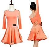 ZYLL Vestidos de Baile para niñas, Conjuntos de Baile Latino DressBallet Dance Leotardo de Gimnasia Traje de actuación de Escenario,Naranja,XL