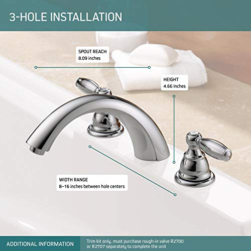 Peerless Claymore 2-Handle Widespread Roman Tub Faucet Trim Kit, Chrome PTT298696 (Valve Not Included)