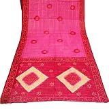 Red Sari Brautkleid Frauen Wrap Indian Craft Stoff Bandhani