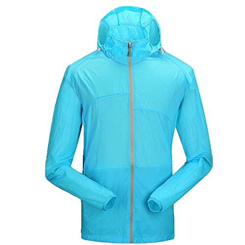 Outdoor Sport Uomo Escursionismo Giacche Con Cappuccio Impermeabile Ad Asciugatura Rapida Protezione Solare, blu cielo, L