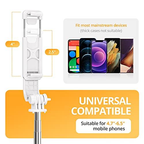 ATUMTEK-Palo-Selfie-Tripode-con-Bluetooth-3-en-1-Selfie-Stick-Extensible-hasta-103-cm-con-Mando-a-Distancia-Inalambrico-270-Rotacion-para-iPhone-1211XXS87-Samsung-Galaxy-S10S9-Blanco