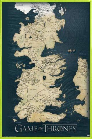 1art1 Juego De Tronos Póster con Marco (Plástico) - Mapa De Westeros, Los Siete Reinos (91 x 61cm)