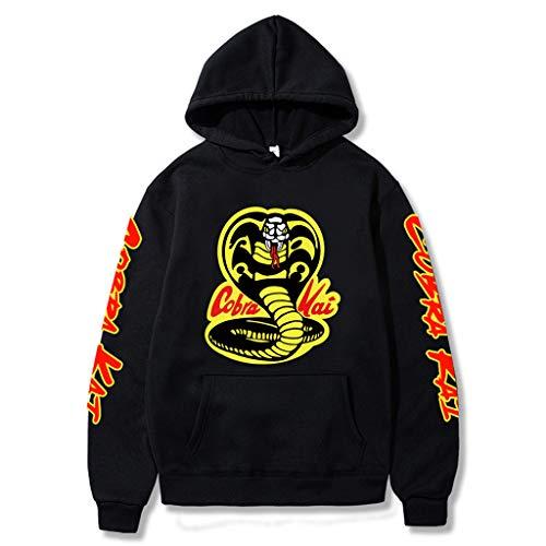 Cobra Kai Hoodie Damen, Herren Karate Kid Pullover Jungen Kinder Strike First Strike Hard No Mercy Sweatshirt Frauen Männer Miyagi Do Karate Pulli Langarm Kapuzenpullover Merchandise (D-Schwarz,XXL)