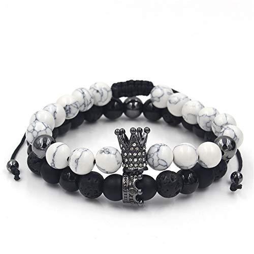 D&XQX Royal Crown Charm Armband Männer und Frauen Mode Weiß Kiefer Schwarz Matt Stein Micro-Intarsien Zirkon Geflochtene Einstellbare Armband Für Schmuck Geschenk,Black