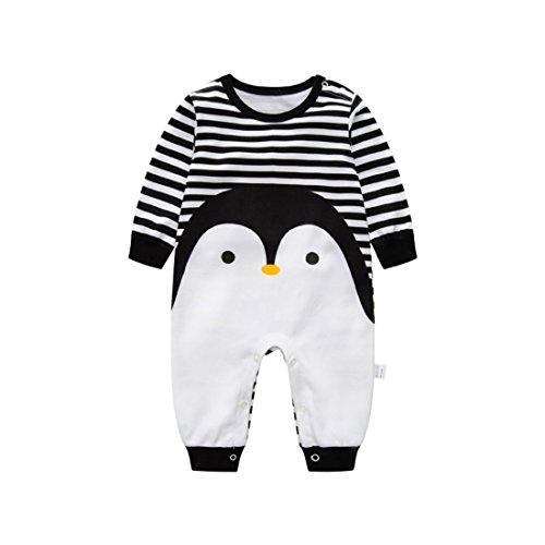 Luckyauction Baby Boys Girls Long Sleeve Stripe Penguin One-Piece Romper,Black/White,6-9 Months